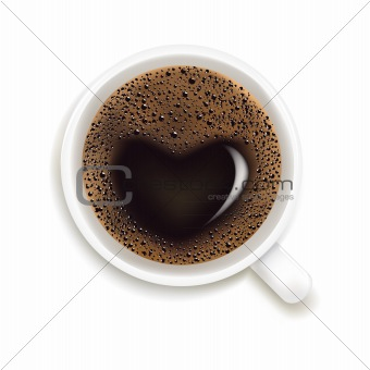 Cup Of Coffee With Prediction of Love, Vector Illustration