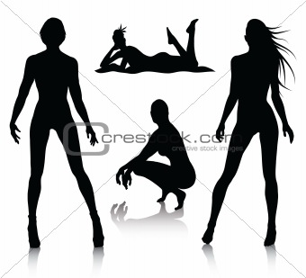 Woman silhouette set