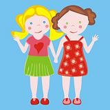 illustration of two little girls waving StockPhoto