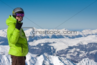 Man on ski resort