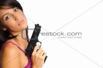 attracive woman with gun