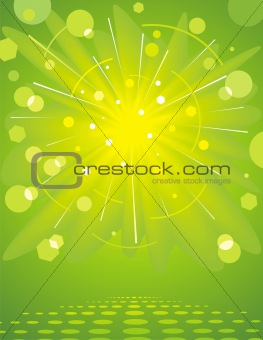 Green glossy background.