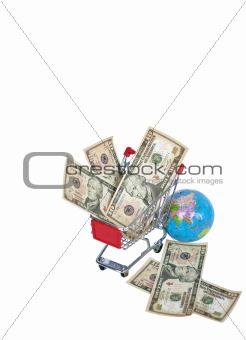 a shopping cart and money