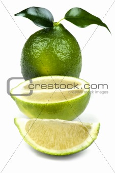 Cutting lime on white