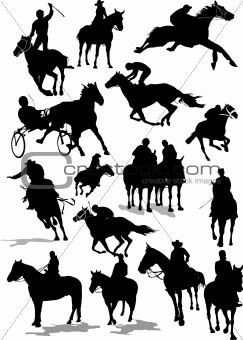Sixteen Horse  racing silhouettes. Colored Vector illustration f