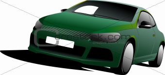 Green Car sedan on the road. Vector illustration