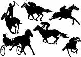 Horse  racing silhouettes. Colored Vector illustration for desig