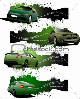 Four  green grunge Banners with cars. Vector illustration