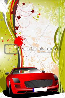 Green and red grunge background with red car. Vector