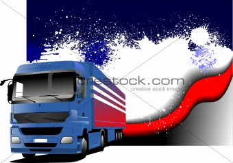 Grunge abstract background with blue truck image. Vector illustr