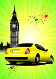 London Poster  with yellow car image. Vector illustration