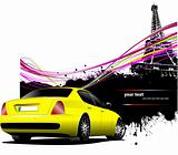 Yellow  car sedan with Paris image background. Vector illustrati