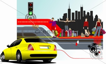 Abstract shopping background with car image. Vector