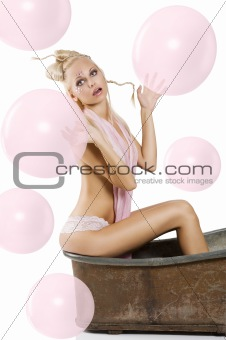 girl pinup in pink lingerie