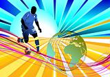 Poster Soccer football player. Colored Vector illustration for d