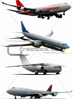 Four planes. Vector illustration
