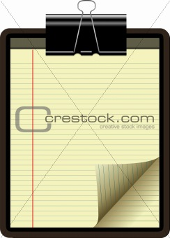 CLIPBOARD YELLOW LEGAL PAD CORNER PAPER PAGE CURL;