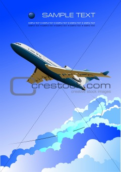 Aircraft poster with passenger airplane image. Vector illustrati