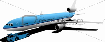Airplane on the airfield. Vector illustration