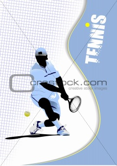 Poster tennis player. Colored Vector illustration for designers
