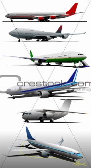 Six Airplanes on the airfield. Vector illustration