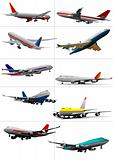Ten passenger airplanes. Vector illustration