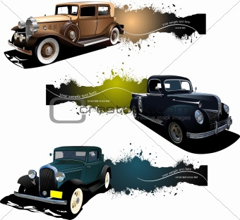 Three banners with old car. Vector illustration
