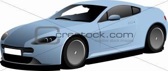 Blue car sedan on the road. Vector illustration