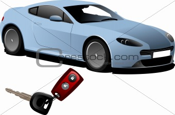 Blue car sedan on the road and key ignition. Vector illustration