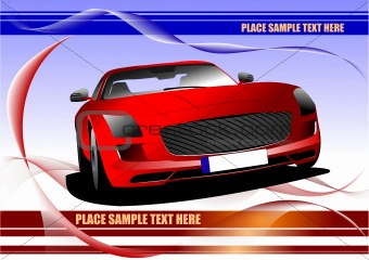 Abstract waved background with red car image. Colored vector fin
