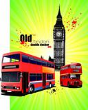 Poster  with old London red double Decker bus. Vector illustrati