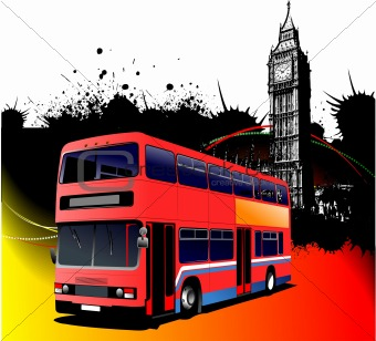 Grunge London images with bus image. Vector illustration