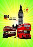 Poster  with two old London red double Decker buses. Vector illu