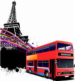 Red double bus with Paris image background. Vector illustration