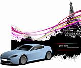Blue sedan car with Paris image background. Vector illustration