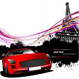 Red car with Paris image background. Vector illustration
