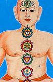 silhouette of man with chakras