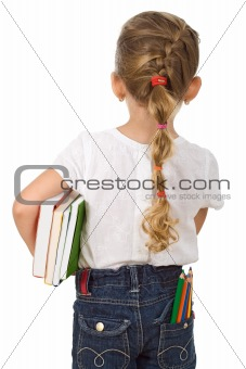 Little girl going back to school
