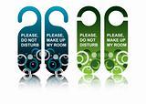 Hotel door signs, vector