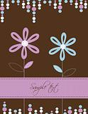Greeting card with flowers, vector