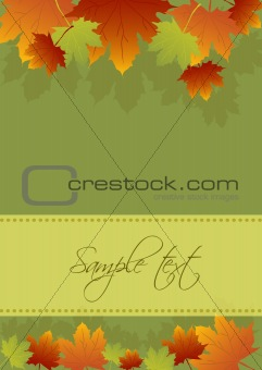 Autumn card background, vector