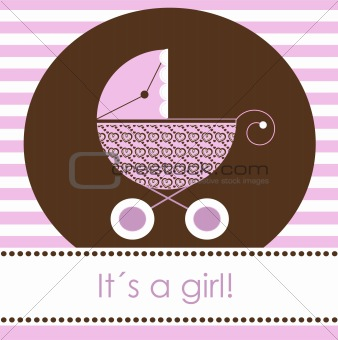 Baby girl arrival card, vector