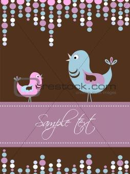 Card template with birds, vector