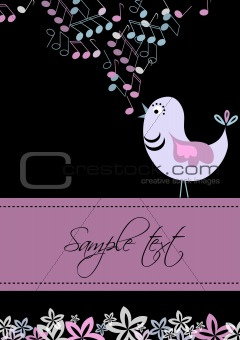 Card template with bird and tunes design, vector