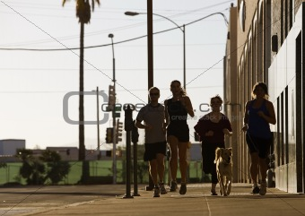 Group of friends out for a run