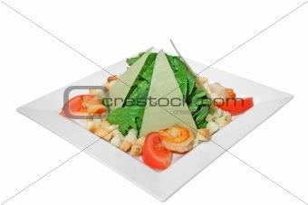 Caesar salad with fried shrimps