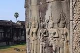 Apsaras - bas-relief in Angkor area