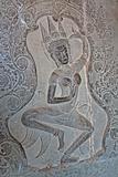 Apsara - bas-relief in Angkor area