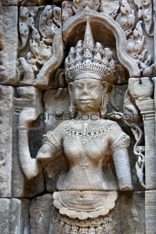 Apsara - bas-relief in Angkor area