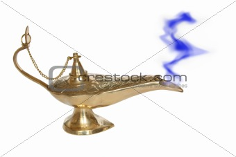 Golden Genie lamp with a smoke